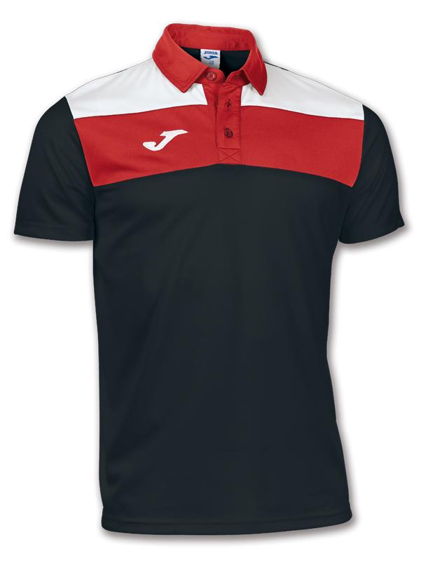 Joma Tricou Polo Crew negru-alb-rosu cu maneca scurta