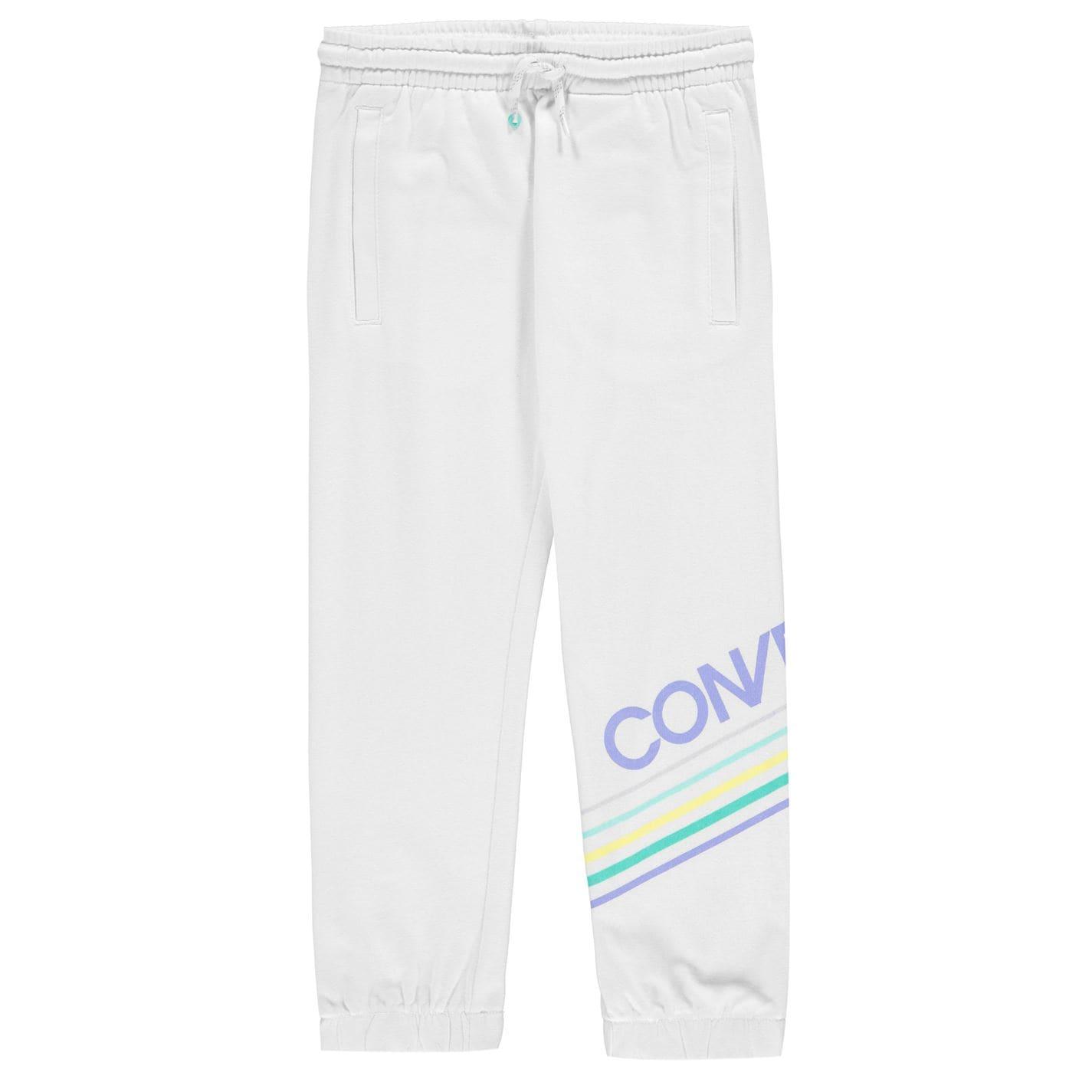 Pantaloni jogging Converse pentru fetite alb