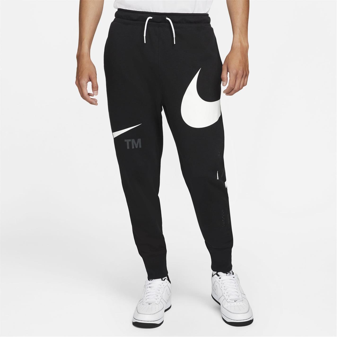 Pantaloni Nike Sportswear Swoosh Semi-Brushed Back pentru Barbati negru alb