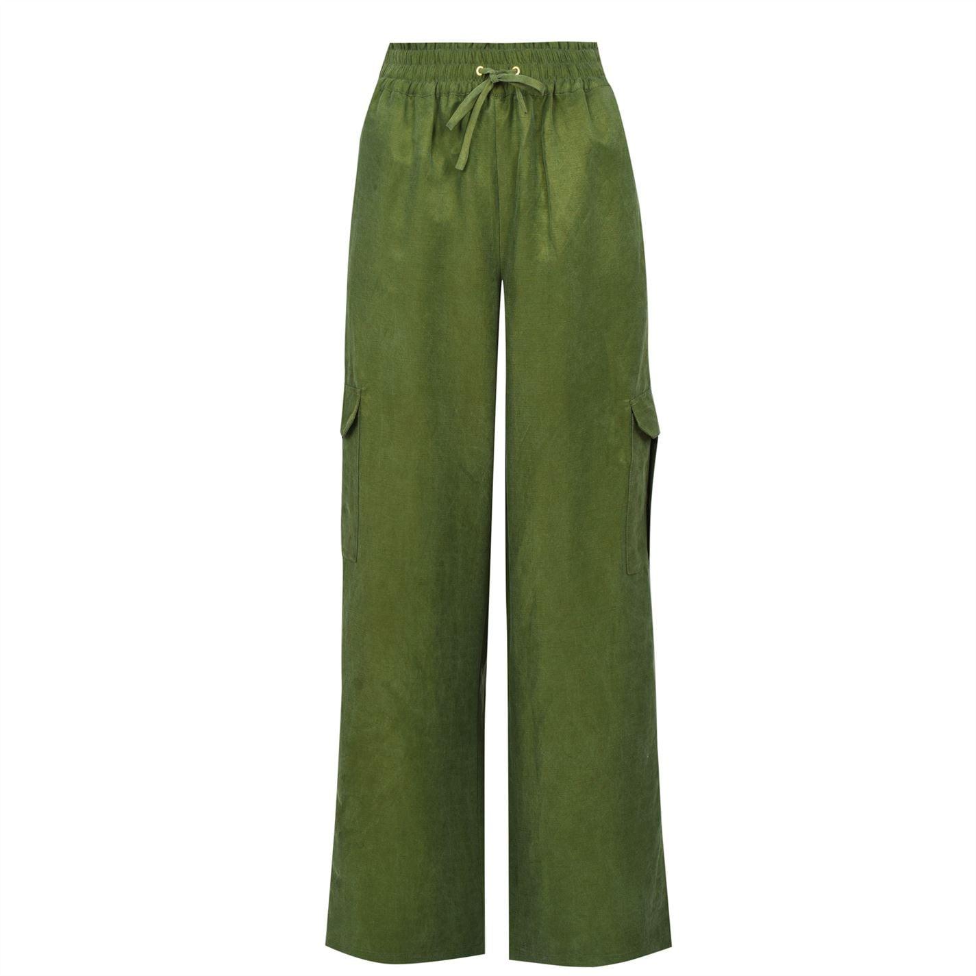 Mergi la Pantaloni Scotch and Soda Linen Blend Cargo kaki