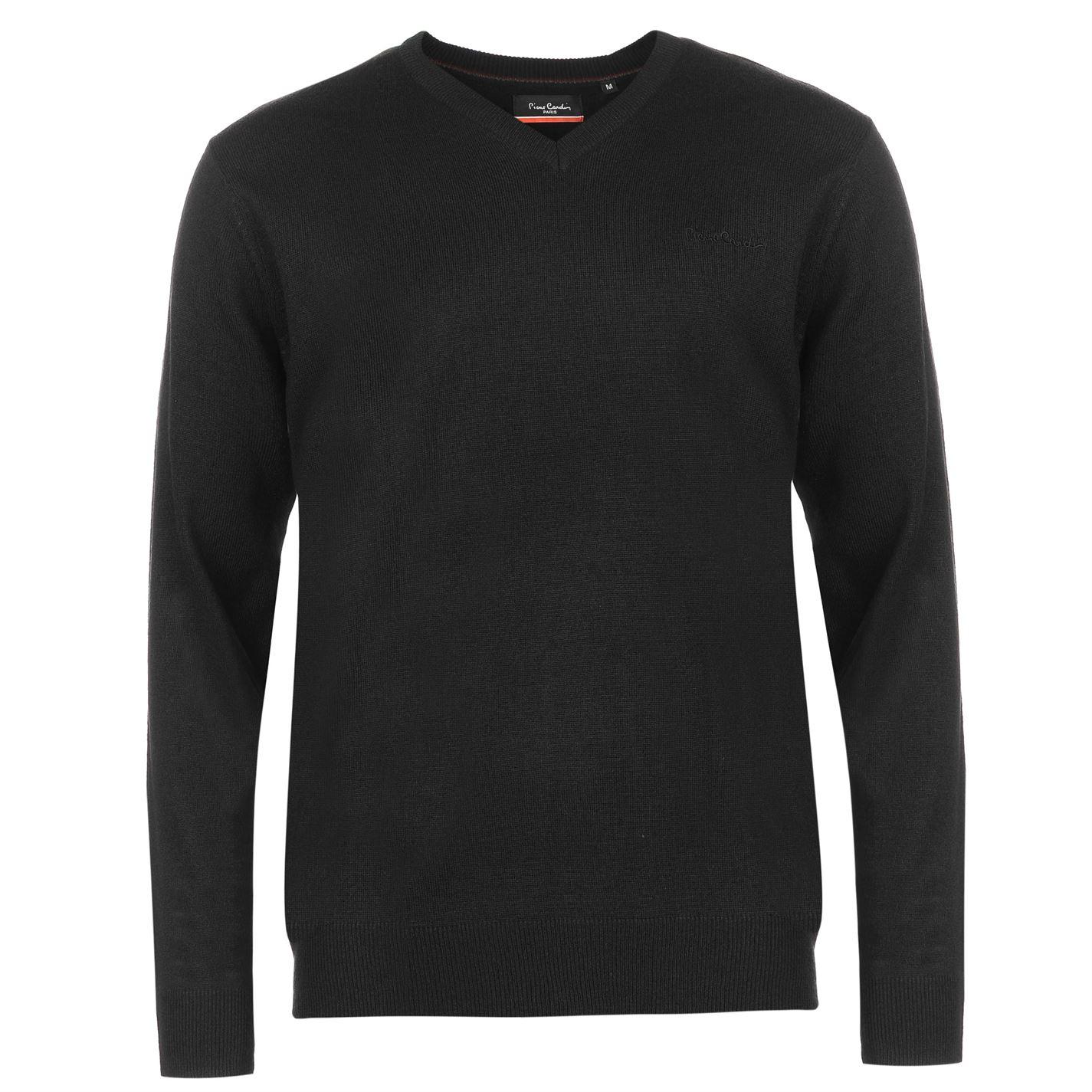 Pulovere tricotate Pierre Cardin cu decolteu in V pentru Barbati negru