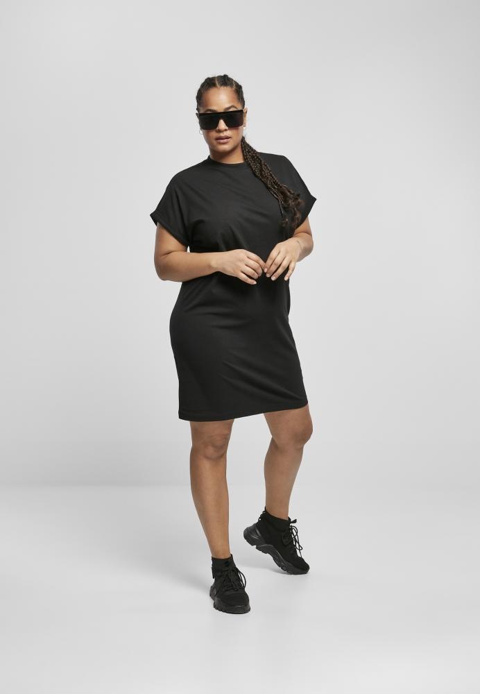 Rochie Tricou maneca scurta Organic bumbac pentru Femei negru Urban Classics