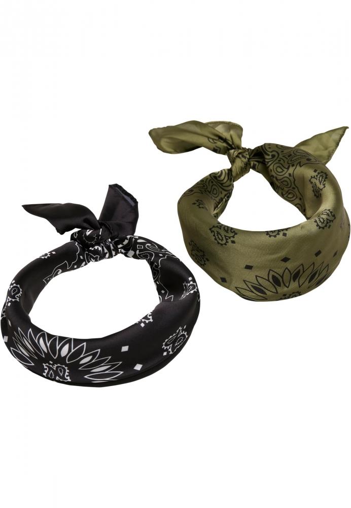 Set de 2 Satin Bandana negru-oliv Urban Classics