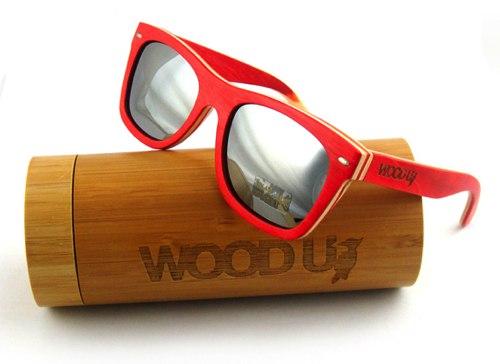 Skateboard Wood U - Occhiali Da Solesunglasses - Mod - Montatura Acero Multistrato Rosso