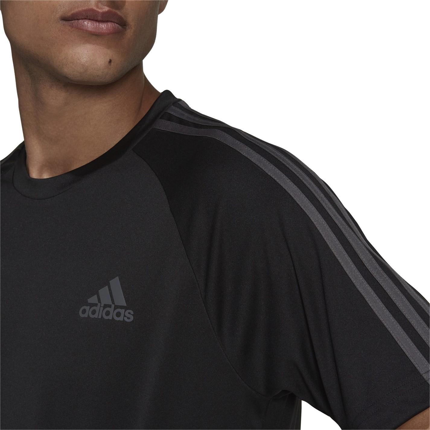 Tricou adidas clasic 3 cu dungi Sereno pentru Barbati negru gri
