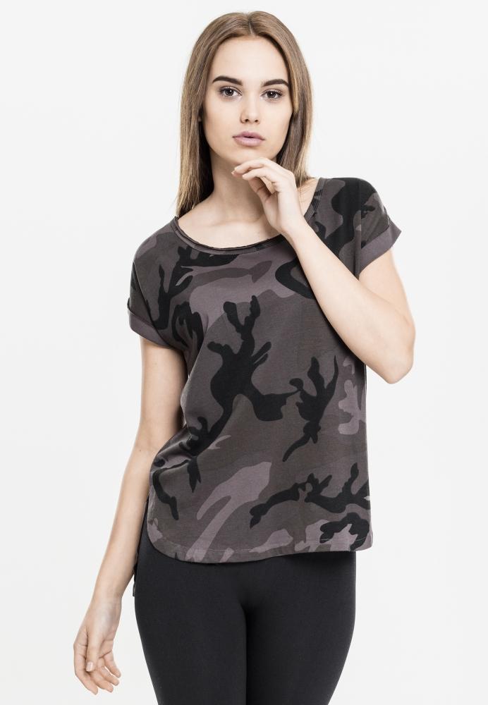 Tricou camuflaj mai lung in spate pentru Femei inchis-camuflaj Urban Classics