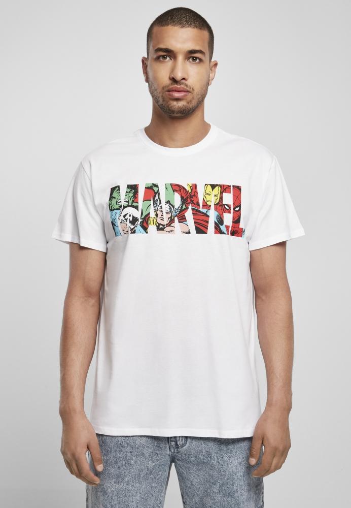 Mergi la Tricou Marvel Logo cu personaje alb Merchcode