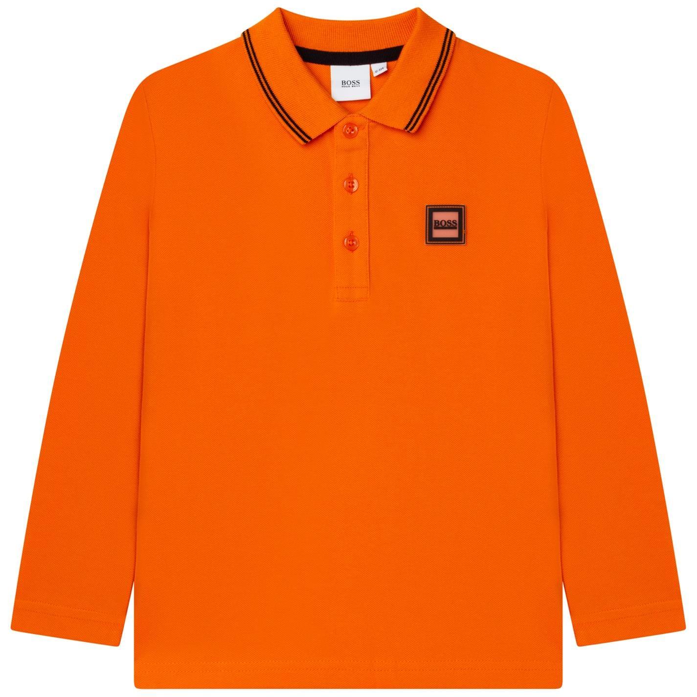 Tricou Polo cu Maneca Lunga Boss Badge portocaliu