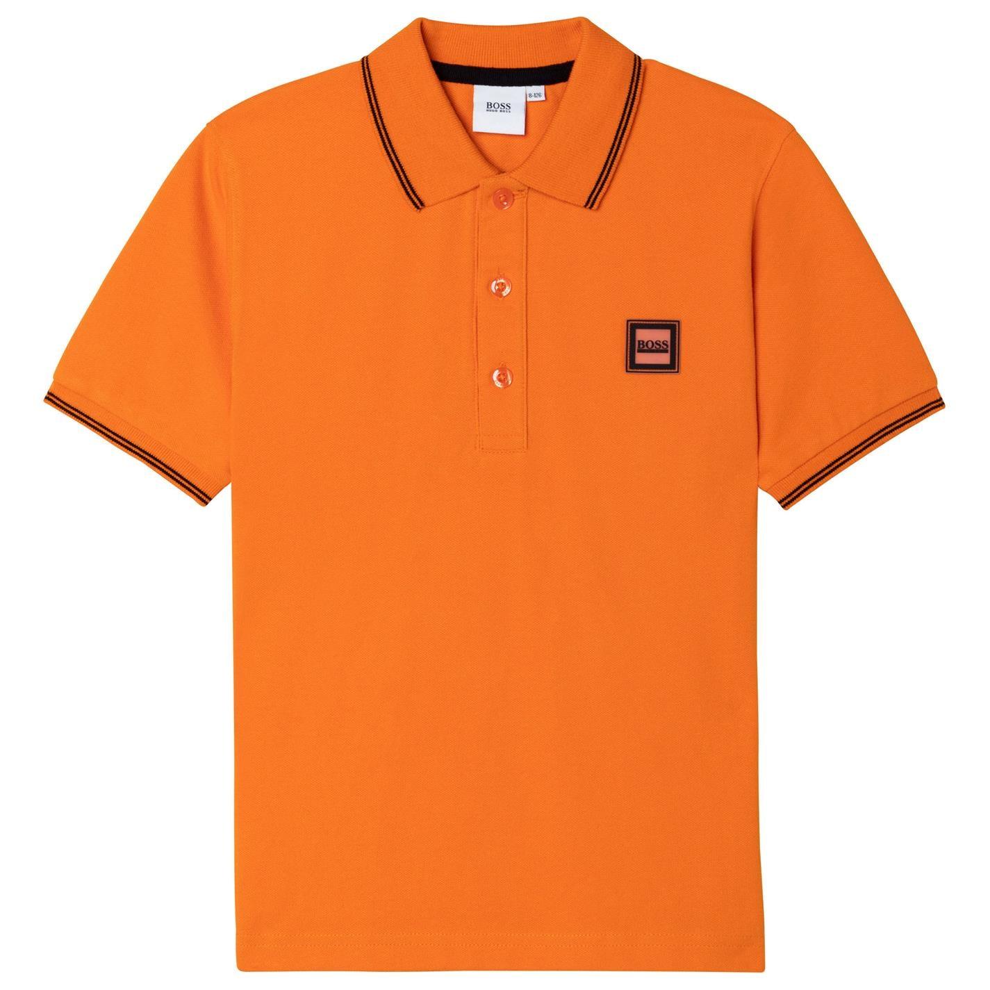 Tricouri polo Boss Hugo Boss Badge Logo pentru copii portocaliu