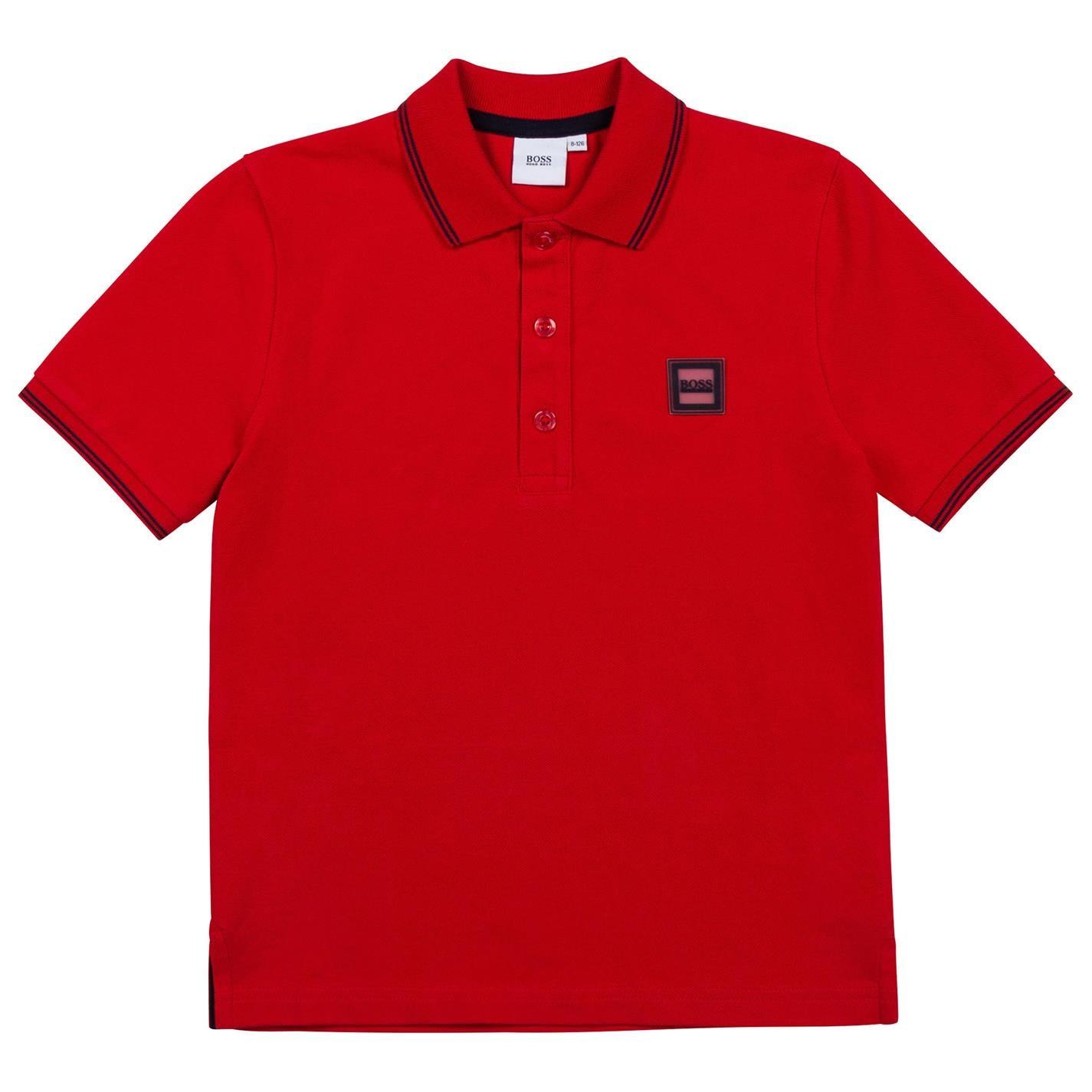 Tricouri polo Boss Hugo Boss Badge Logo pentru copii rosu 97e