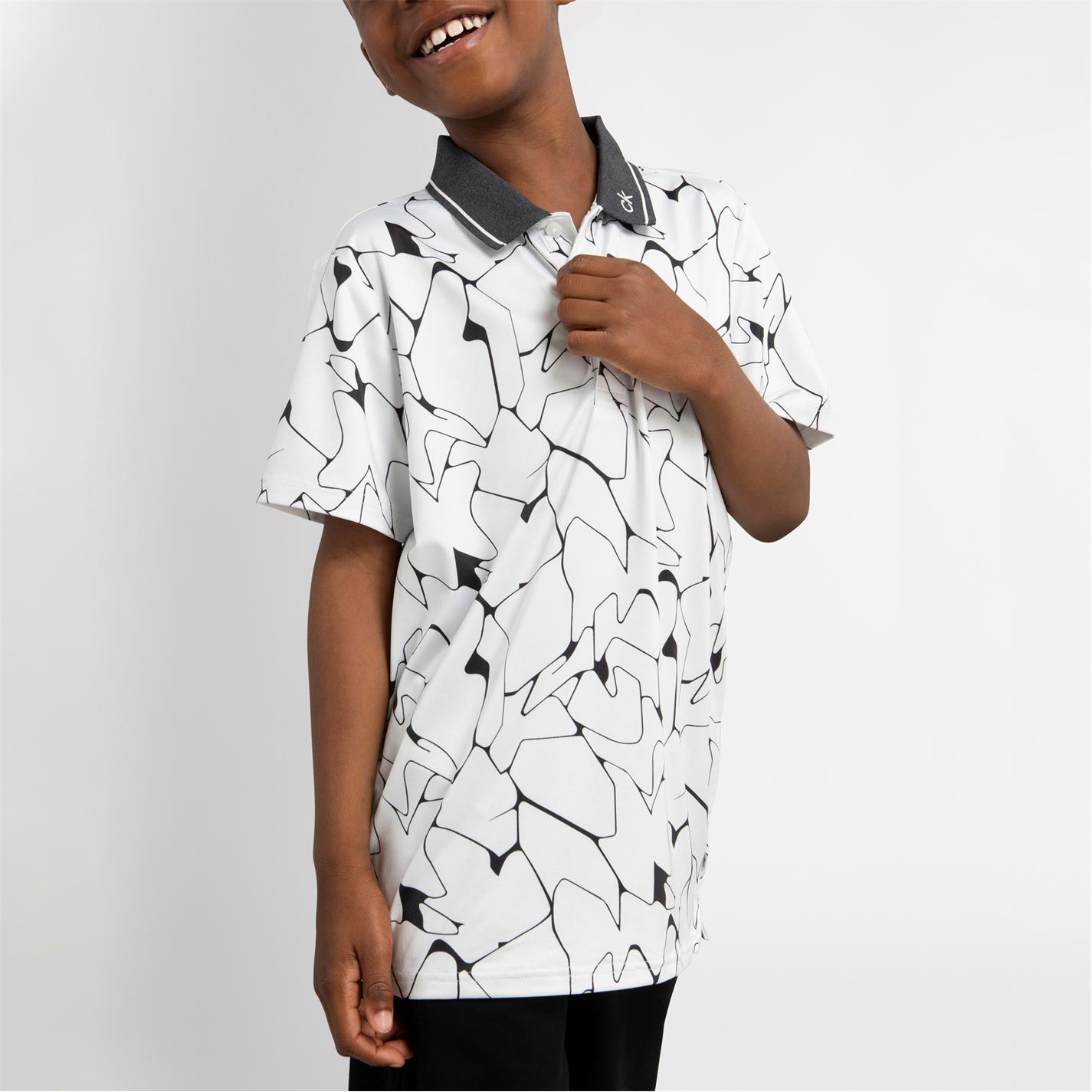 Tricouri polo Calvin Klein Golf Klein G Print alb