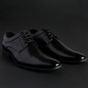 Pantofi siret Duca Di Morrone HAROLD Negru