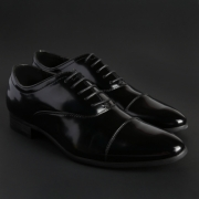 Pantofi siret Duca Di Morrone WILLIAM Negru