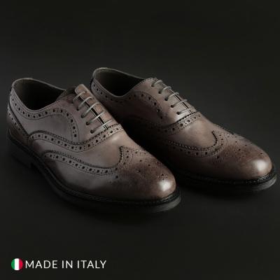 Pantofi siret Duca Di Morrone 4_VITELLO Gri