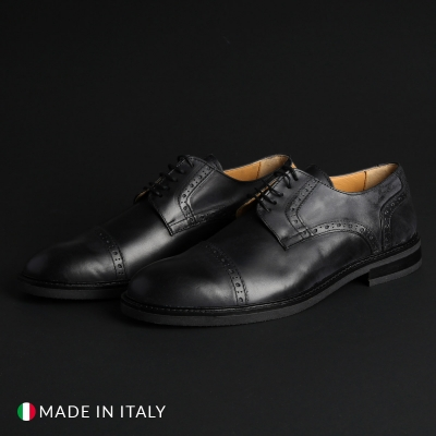 Pantofi siret Madrid 607_PELLE Negru