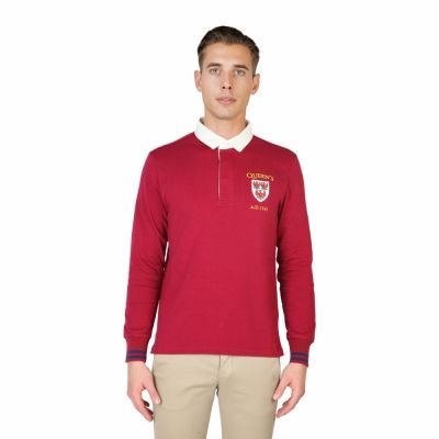Tricou polo Oxford University QUEENS-POLO-ML Rosu