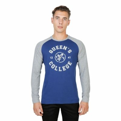 Tricouri Oxford University QUEENS-RAGLAN-ML Albastru